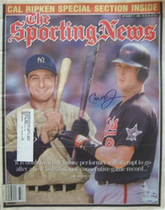 Cal Ripken autographed Baltimore Orioles 1995 Sporting News with Lou Gehrig