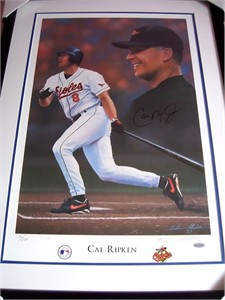 Cal Ripken autographed Baltimore Orioles lithograph matted & framed #76/800 (Steiner)