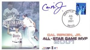 Cal Ripken autographed Baltimore Orioles 2001 All-Star Game MVP cachet envelope