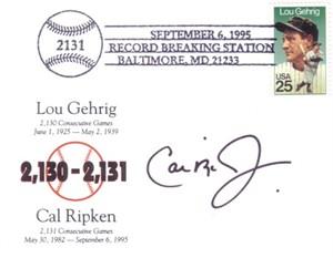 Cal Ripken autographed Baltimore Orioles 2131 Consecutive Games postcard