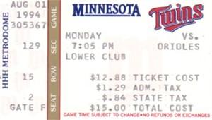 Cal Ripken Consecutive Game 2000 Baltimore Orioles 1994 ticket stub