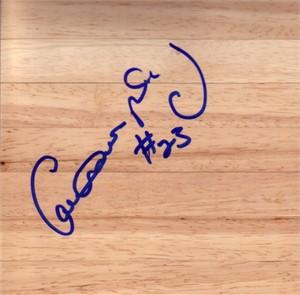 Calvin Murphy autographed basketball hardwood floor