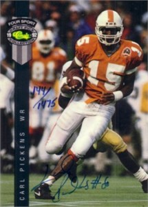 Carl Pickens Tennessee certified autograph 1992 Classic card