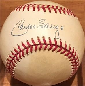 Carlos Baerga autographed American League baseball