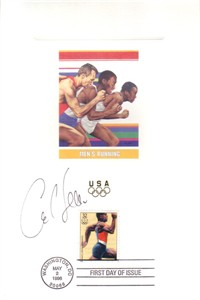 Carl Lewis autographed 1996 Olympic USPS First Day of Issue souvenir card sheet