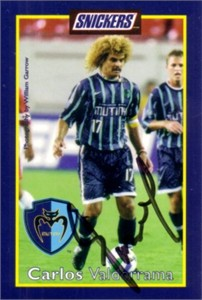 Carlos Valderrama autographed 1999 MLS Tampa Bay Mutiny card