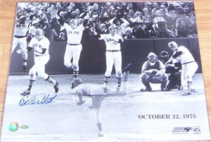Carlton Fisk autographed Boston Red Sox 1975 World Series Game 6 Home Run 16x20 poster size photo (Steiner)