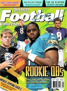 Carson Palmer Rex Grossman Kyle Boller autographed 2003 Beckett Football cover