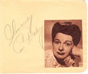 Cass Daley autographed autograph album or book page JSA