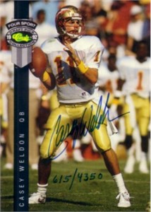 Casey Weldon certified autograph Florida State 1992 Classic card