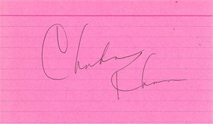 Chaka Khan autographed pink 3x5 index card