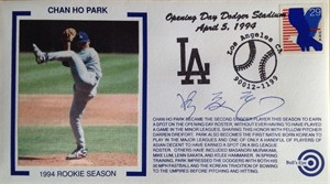 Chan Ho Park autographed Los Angeles Dodgers 1994 Rookie Season cachet envelope