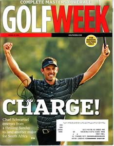 Charl Schwartzel autographed 2011 Masters Golf Week magazine
