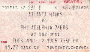 Charles Barkley 1984-85 rookie season ticket stub (Philadelphia 76ers at Atlanta Hawks)