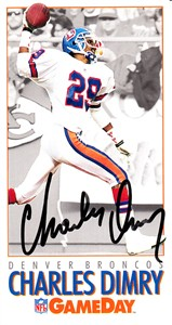 Charles Dimry autographed Denver Broncos 1992 GameDay card
