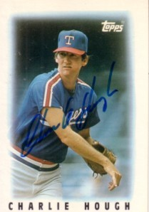 Charlie Hough autographed Texas Rangers 1986 Topps Mini League Leaders card