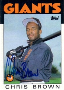Chris Brown autographed San Francisco Giants 1986 Topps Rookie Card