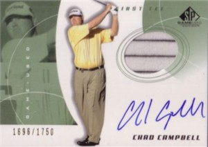 Chad Campbell certified autograph 2002 SP golf card with shirt swatch #1696/1750
