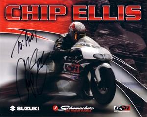 Chip Ellis autographed 8x10 NHRA photo card (to Alex)