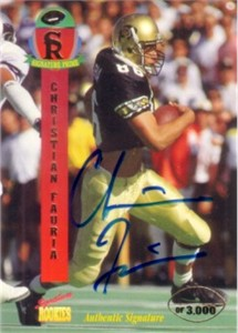Christian Fauria certified autograph Colorado 1995 Signature Rookies card