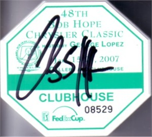 Charley Hoffman autographed 2007 Bob Hope Chrysler Classic badge