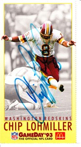 Chip Lohmiller autographed Washington Redskins 1993 McDonald's GameDay card