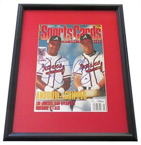 Chipper Jones & Andruw Jones autographed Atlanta Braves magazine cover matted & framed