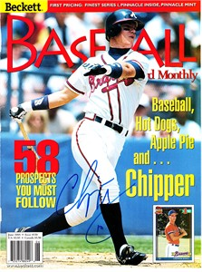 Chipper Jones autographed Atlanta Braves 1998 Beckett Baseball magazine cover