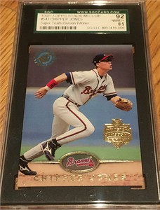 Chipper Jones 1995 Stadium Club Super Team graded SGC 96 (MINT) PSA 9
