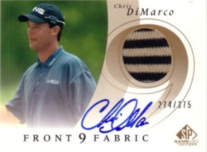 Chris DiMarco certified autograph 2002 SP Game Used golf tournament worn shirt card