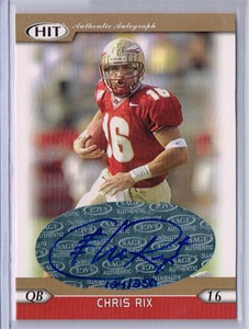 Chris Rix certified autograph Florida State Seminoles 2005 SAGE Hit Gold card #/250