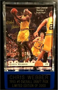 Chris Webber certified autograph Michigan Fab Five 1993 Classic Gold card #/9500