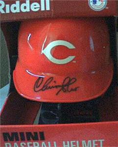 Chris Sabo autographed Cincinnati Reds mini helmet