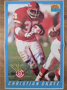 Christian Okoye autographed Kansas City Chiefs Sports Illustrated for Kids mini poster