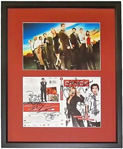 CHUCK cast autographed DVD cover matted & framed with photo (Zachary Levi Yvonne Strahovski)