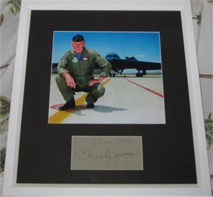 Chuck Yeager autograph matted & framed with 8x10 photo inscribed Good Luck