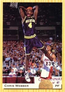 Chris Webber Michigan 1993 Classic jumbo box bottom card