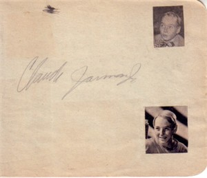 Claude Jarman Jr. (The Yearling) autographed autograph album or book page