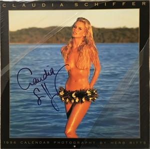 Claudia Schiffer autographed 1996 swimsuit calendar
