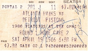 Cliff Levingston & Kevin Willis autographed 1986 Atlanta Hawks ticket stub