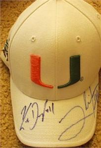 Clinton Portis & Ken Dorsey autographed Miami Hurricanes cap or hat