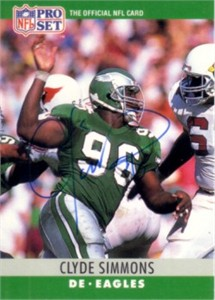 Clyde Simmons autographed Philadelphia Eagles 1990 Pro Set card