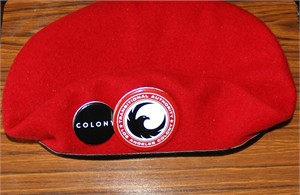 The Colony 2015 San Diego Comic-Con promo red wool beret with buttons