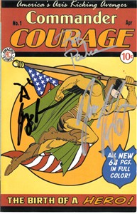 Jess Harnell Rob Paulsen Roger Rose autographed Commander Courage comic book cover (Comic Book The Movie)