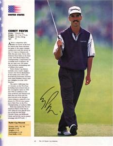 Corey Pavin autographed full page golf magazine photo