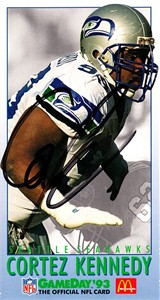 Cortez Kennedy autographed Seattle Seahawks 1993 McDonald's GameDay card