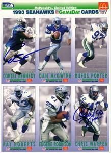 Cortez Kennedy & Chris Warren autographed 1993 Seattle Seahawks McDonald's card sheet