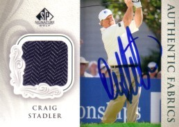 Craig Stadler autographed 2004 SP Signature golf tournament worn shirt golf card