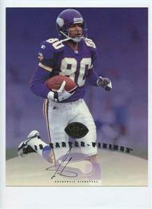 Cris Carter certified autograph Minnesota Vikings 1997 Leaf 8x10 photo card