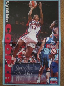 Cynthia Cooper autographed WNBA Houston Comets Sports Illustrated for Kids mini poster